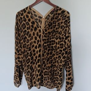 Blush Plus Leopard Zipper Down Blouse